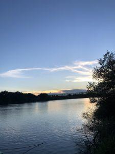 夕陽を浴びる利根川
